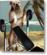 Muscle Boy Boxer Lifting Weights Metal Print