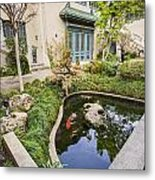 Museum Koi - Courtyard Of The Pacific Asia Museum In Pasadena. Metal Print