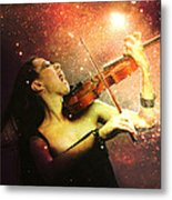 Music Explodes In The Night Metal Print by Linda Lees