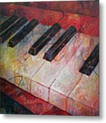 Music Is The Key - Painting Of A Keyboard Metal Print