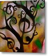 Musical Tree Golden Metal Print