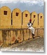 Musician - Amber Palace - India Rajasthan Jaipur Metal Print