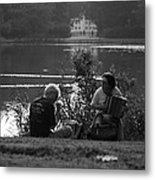 Musicians By The Pond Metal Print
