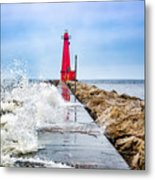 Muskegon Channel South Pier Lighthouse and Wave, Lake Michigan Metal Print