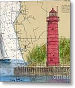 Muskegon Lighthouse Mi Nautical Chart Map Art Cathy Peek Metal Print