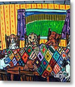 Mutts Quilting Metal Print by Jay  Schmetz