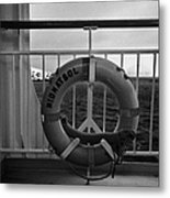 Mv Midnatsol Lifebelt On Board Hurtigruten Passenger Ship Sailing Through Fjords During Winter Metal Print