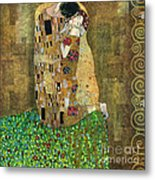 My Acrylic Painting As An Interpretation Of The Famous Artwork Of Gustav Klimt The Kiss - Yakubovich Metal Print