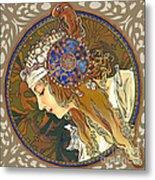 My Acrylic Painting As Interpretation Of Alphonse Mucha- Byzantine Head. The Blonde. Diagonal Frame. Metal Print by Elena Yakubovich