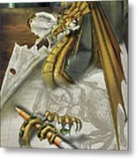 My Dragon Ate My Homework Metal Print