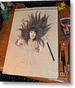 My Drawing Of A Beauty Coming Alive Metal Print