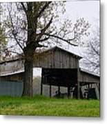 My Friends Barn In The Rain Metal Print
