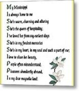 My Mississippi - Poetry  Metal Print