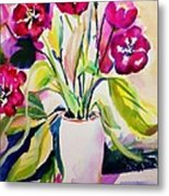 My Morning Tulips Opened Sold Original Metal Print