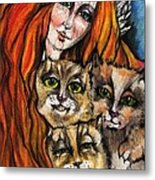 My Three Cats Metal Print