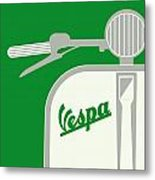 My Vespa - From Italy With Love - Green Metal Print