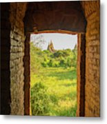 Myanmar Bagan View Of Some Pagodas Metal Print
