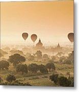 Myanmar Burma - Balloons Flying Over Metal Print
