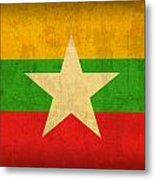 Myanmar Burma Flag Vintage Distressed Finish Metal Print