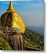 Myanmar's Golden Rock Pagoda Metal Print