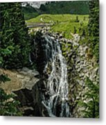 Myrtle Falls In Front Of Mt. Rainier Metal Print