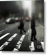 Mysterious Business Men In New York City Crosswalk Metal Print