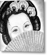 Mysterious - Geisha Girl With Orchids And Fan Metal Print