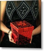 Mysterious Woman With Red Box Metal Print