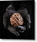 Mystical Hands Holding A Woven Ball Metal Print