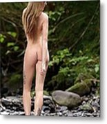Naked Girl In The River  Metal Print