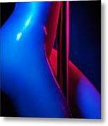 Naked Woman Pole Dancing Closeup Of Nude Body Metal Print