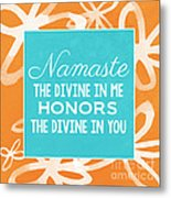 Namaste Watercolor Flowers Metal Print
