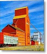 Nanton Grain Elevators  Metal Print