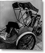 Nap Time For Vietnamese Rickshaw Driver Metal Print