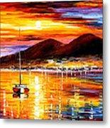 Naples-sunset Above Vesuvius - Palette Knife Oil Painting On Canvas By Leonid Afremov Metal Print
