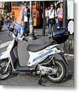Napoli Police Scooter Metal Print