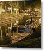 Narbonne France Canal De La Robine At Night Dsc01657  Metal Print