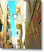 Narrow Street Cefalu Italy Digital Art Metal Print