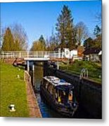 Narrowboat In Lock Metal Print