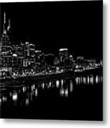 Nashville Skyline At Night In Black And White Metal Print by Dan Sproul