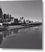Nashville Skyline In Black And White At Day Metal Print