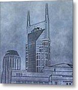 Nashville Skyline Sketch Metal Print