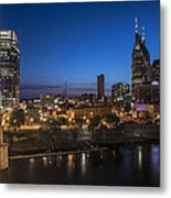 Nashville Tennessee With Pedestrian Bridge  Metal Print by John McGraw