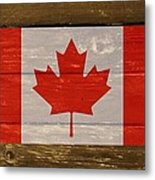 Canada National Flag On Wood Metal Print