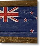 New Zealand National Flag On Wood Metal Print