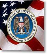 National Security Agency - N S A Emblem Emblem Over American Flag Metal Print