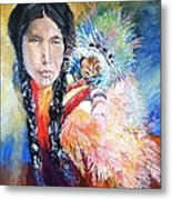 Native American And Child Metal Print