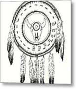 Native American Ceremonial Shield Number 2 Black And White Metal Print