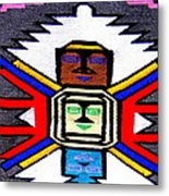 Native American Grey White Quilt Detail Metal Print