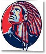 Native American Indian Chief Retro Metal Print by Aloysius Patrimonio